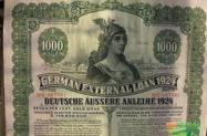 Título Alemão 1924 VERDE  germany loan 1924 green